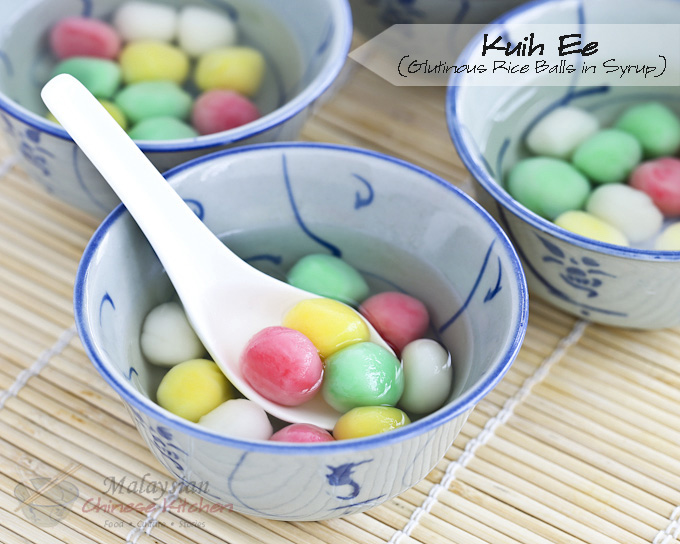 Kuih Ee is a dessert of glutinous rice balls in syrup eaten as a symbol of unity and togetherness during Tang Chek, weddings, birthdays, and the New Year. | MalaysianChineseKitchen.com
