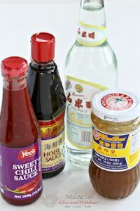 Hoisin sauce, rice wine vinegar, plum sauce, sweet chili sauce