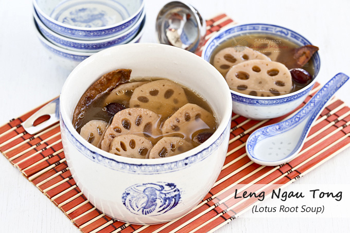 Slow simmered Leng Ngau Tong (Lotus Root Soup) flavored with broiled cuttlefish. It is a comforting soup to come home to at the end of the day. | MalaysianChineseKitchen.com