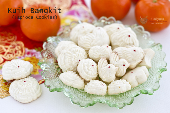 Light, airy, and fragrant Kuih Bangkit (Tapioca Cookies) are a Chinese New Year favorite in Malaysia and Singapore. Uses only 5 ingredients with detailed video instructions. | MalaysianChineseKitchen.com #kuihbangkit #tapiocacookies #coconutcookies #chinesenewyear #lunarnewyear