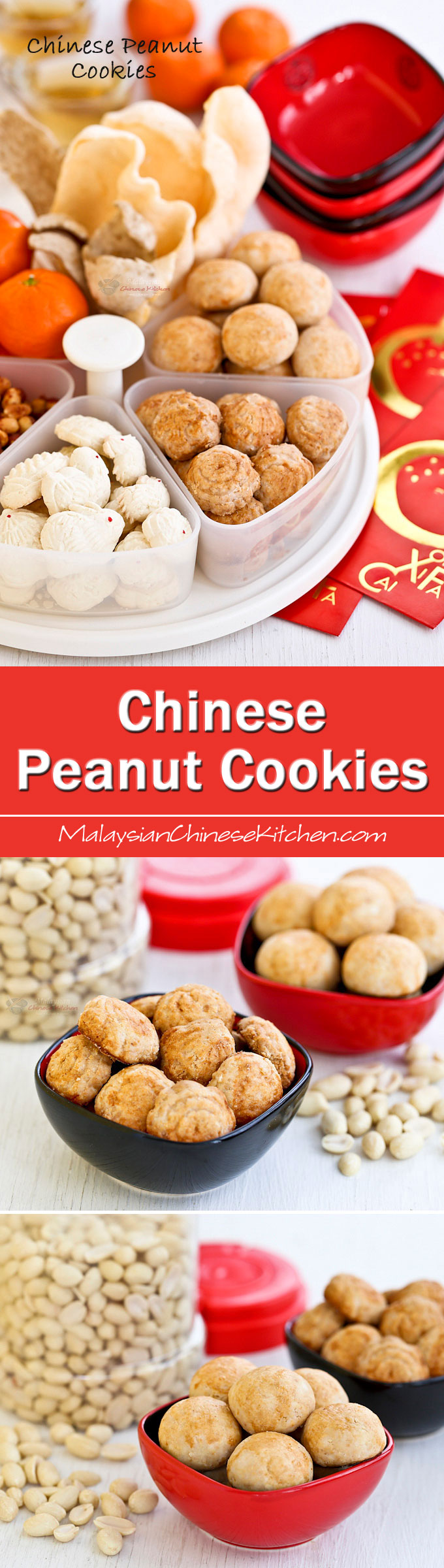 Traditional melt-in-the-mouth Chinese Peanut Cookies made gluten free using rice flour. They are a favorite during the Chinese New Year and popular throughout the year. | MalaysianChineseKitchen.com