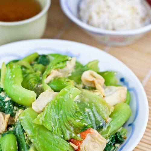 Freshly cooked Wat Tan Gai Choy (Stir Fry Mustard Greens in Silky Egg Sauce).