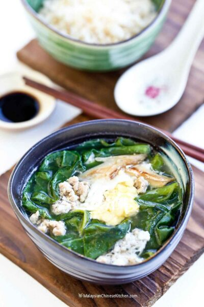 Delicious and nutritious Chan Choy Tong (Malabar Spinach Soup).