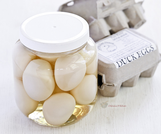 Easy to prepare homemade Salted Eggs using only chicken or duck eggs, kosher salt, Shao Hsing cooking wine, and water. The hardest part is the waiting. | MalaysianChineseKitchen.com