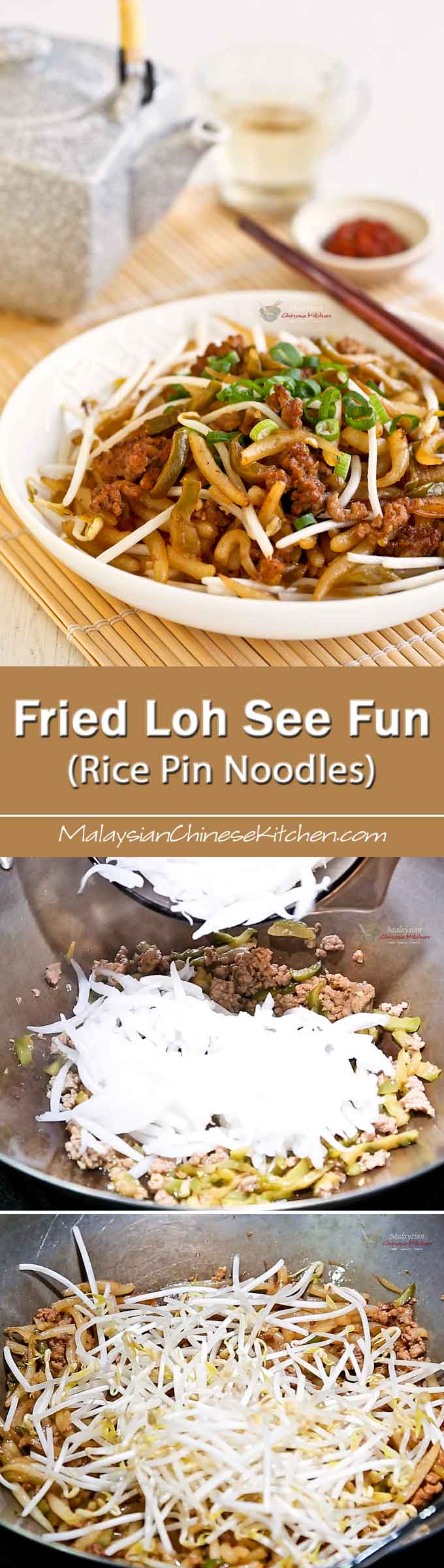 Quick and easy Fried Loh See Fun (Rice Pin Noodles) with minced pork and salted spicy radish. It is perfect for lunch and can be prepared in under 30 minutes. | MalaysianChineseKitchen.com