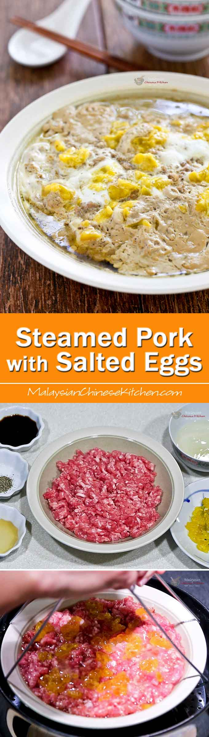 Steamed Pork with Salted Eggs is an easy and tasty dish using just a handful of ingredients. It involves minimum prep work and cleanup is a breeze.| Food • Culture • Stories at MalaysianChineseKitchen.com