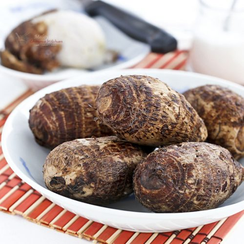 Boiled Baby Taro - an easy snack and a traditional food for the Mooncake Festival. Delicious eaten with a little salt or sugar.   MalaysianChineseKitchen.com