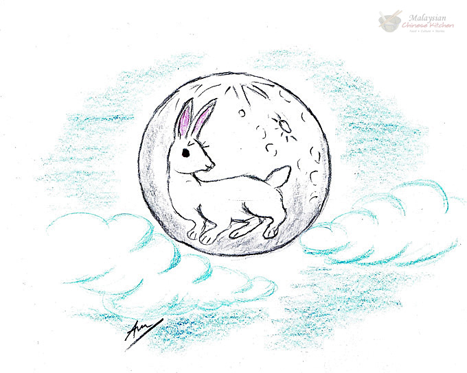 Chinese folklore of a big white rabbit pounding away at a mortar on the moon.