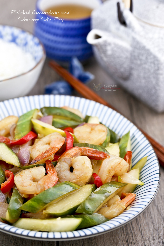 Pickled Cucumber and Shrimp Stir Fry - a light, tender crisp, and refreshingly piquant side dish perfect with a bowl of steamed rice. | MalaysianChineseKitchen.com