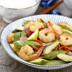 Pickled Cucumber and Shrimp Stir Fry