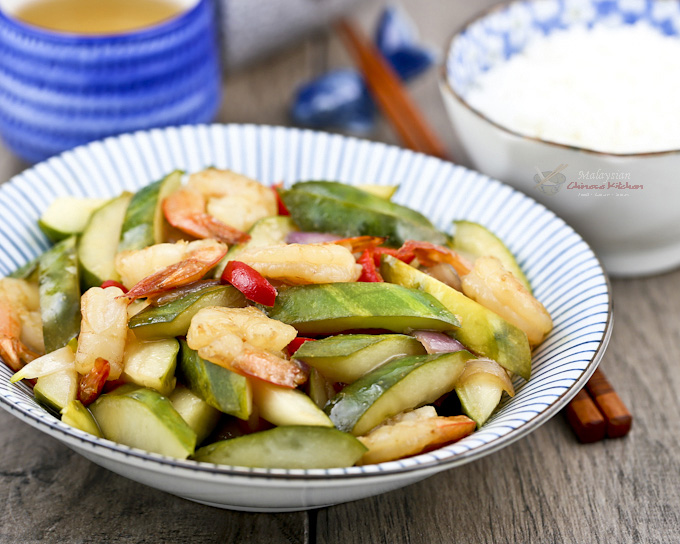 Pickled Cucumber and Shrimp Stir Fry - a light, crunchy, and refreshingly piquant side dish perfect with a bowl of steamed rice. | MalaysianChineseKitchen.com