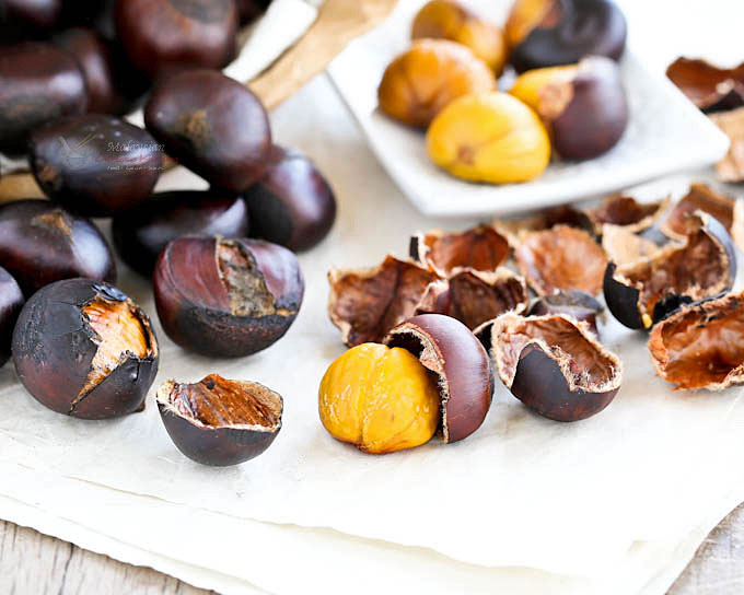Easy Coffee Roasted Chestnuts on the stove top with butter and whole coffee beans for the smoky coffee aroma. No slitting of X's and done in 20 minutes! | MalaysianChineseKitchen.com