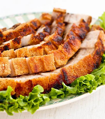 Easy to prepare Siew Yoke (Roast Pork Belly) with a perfectly crisp crackling. Delicious served with steamed rice and perfect for any occasion or festival. | MalaysianChineseKitchen.com #siewyoke #siuyuk #crispyporkbelly
