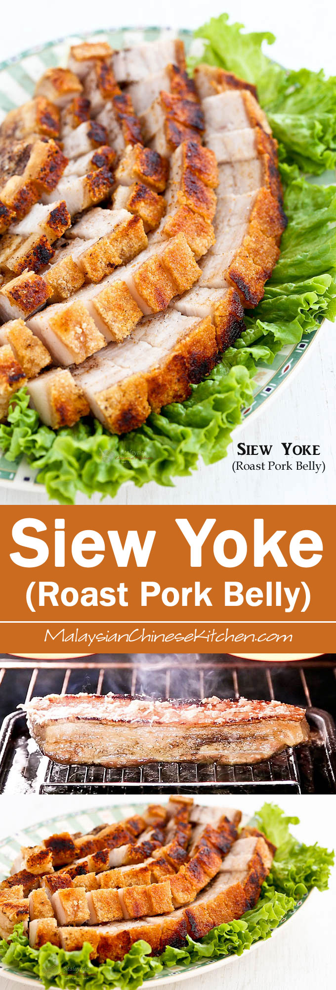 Easy to prepare Siew Yoke (Roast Pork Belly) with a perfectly crisp crackling. Delicious served with steamed rice and perfect for any occasion or festival. | MalaysianChineseKitchen.com