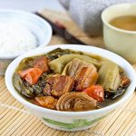 Rehash your roast pork and leftovers in this popular Chai Boey (Mustard Greens Stew). It is a spicy and tangy soup delicious served with steamed rice. | MalaysianChineseKitchen.com
