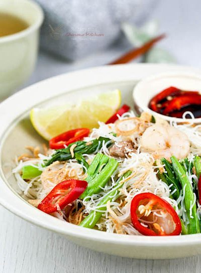 Fermented small shrimps give this Cincaluk Char Beehoon (rice noodles) its distinctive umami flavor. Delicious served with lime juice and cut red chilies. | MalaysianChineseKitchen.com