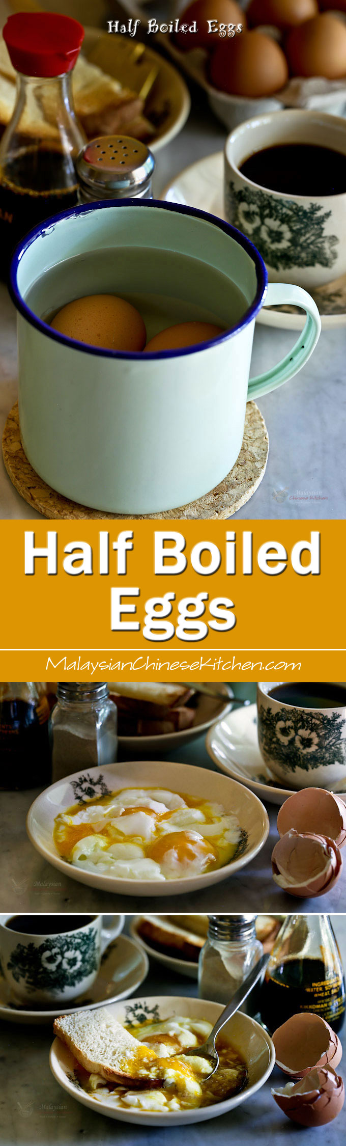 Half Boiled Eggs and toast are a favorite Malaysian breakfast. Learn how to cook them to a soft, creamy, and delicious perfection in a hot water bath.   MalaysianChineseKitchen.com