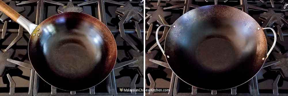 Two very well seasoned woks.
