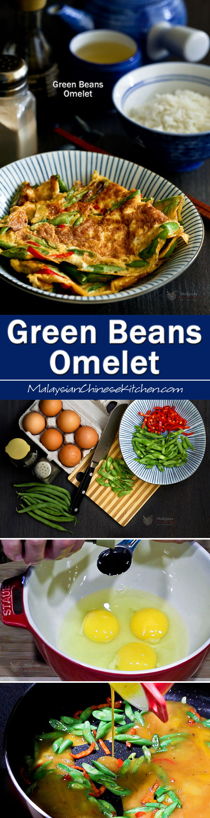 Green Beans Omelet, a quick and easy side dish usually eaten with rice. A cut red chili is added to provide a little heat. | RotiNRice.com