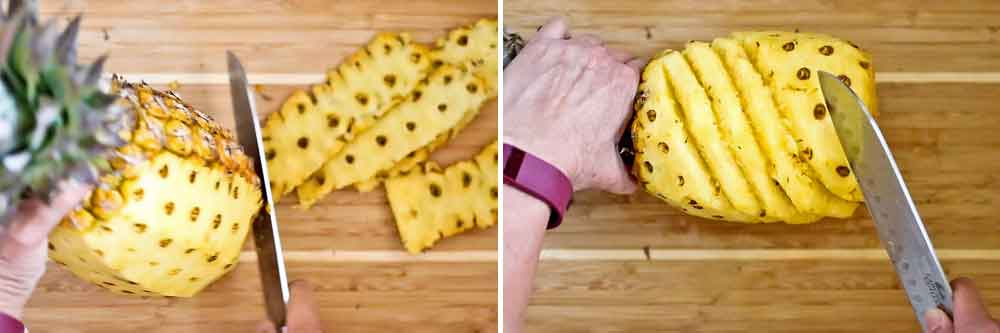 Remove the skin and eyes of the pineapple.