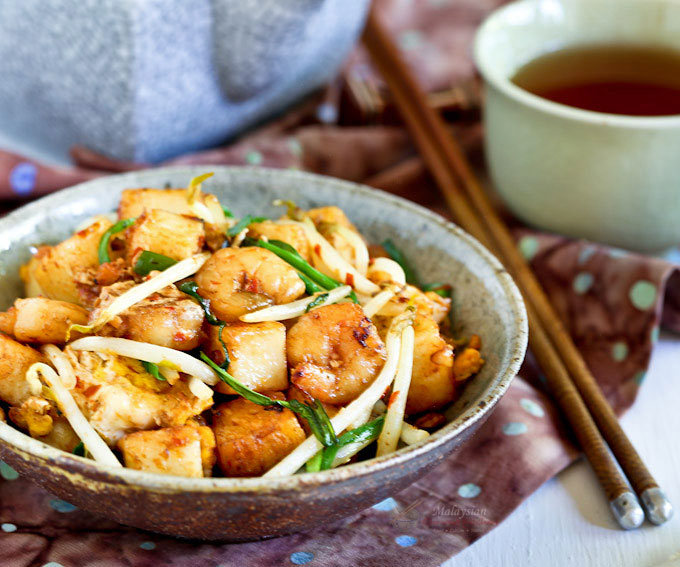 Char Koay Kak (Fried Rice Cake) is a popular Penang breakfast or supper street food usually served in small portions. Easy to prepare and super tasty.| MalaysianChineseKitchen.com