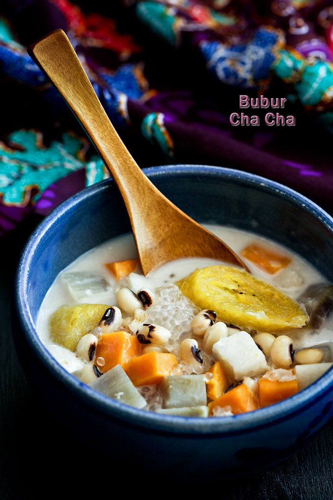 Bubur Cha Cha, a popular Malaysian coconut based dessert with yam, taro, sweet potatoes, black eyed peas, and bananas. Very delicious and satisfying. | MalaysianChineseKitchen.com
