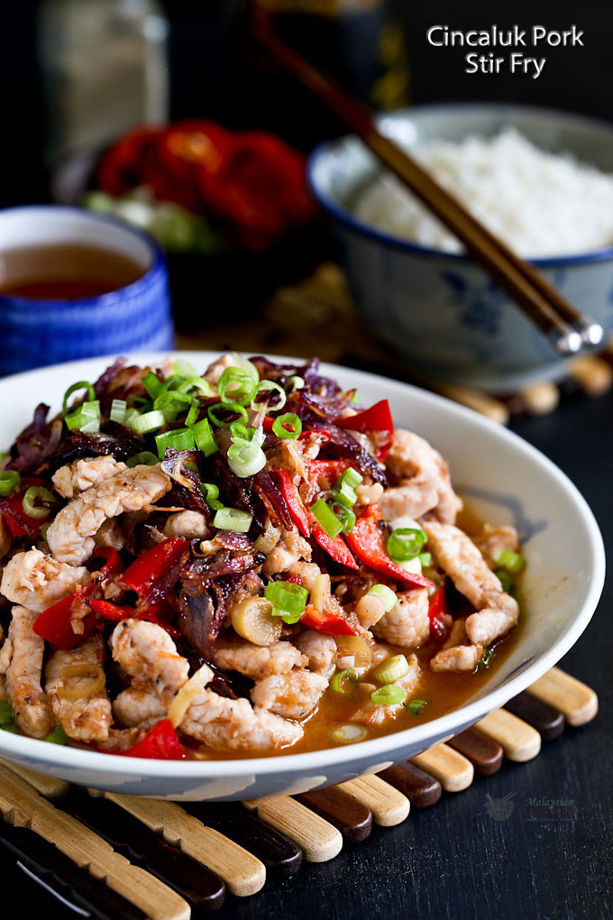 This Cincaluk Pork Stir Fry is one dish not easily found at the restaurants. It is deliciously fragrant, tangy, and appetizing. A must try! | MalaysianChineseKitchen.com