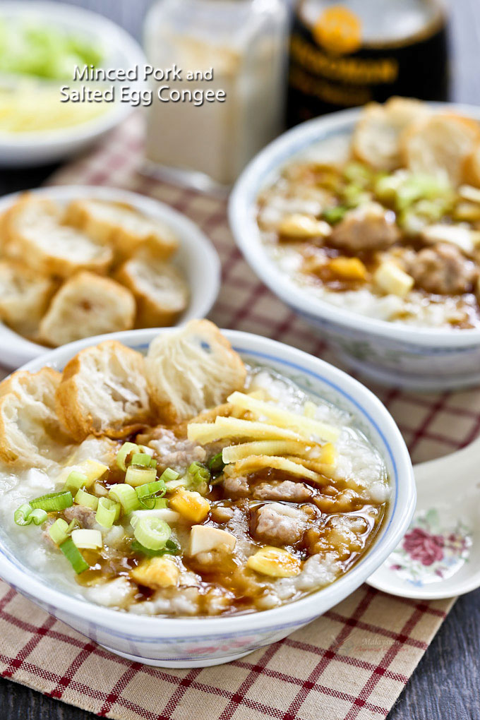 This easy to prepare Minced Pork and Salted Egg Congee is comfort food for the soul. It is warm, delicious, and satisfying. | MalaysianChineseKitchen.com
