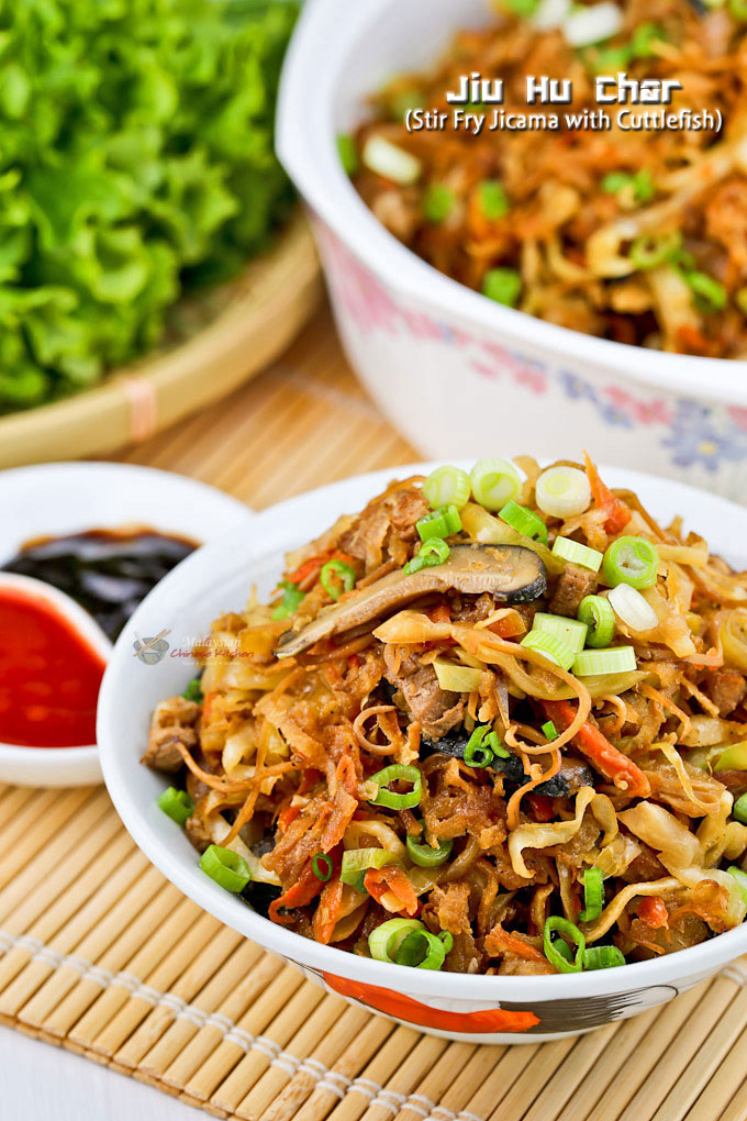 Jiu Hu Char (Stir Fry Jicama with Cuttlefish) is a popular Nyonya side dish or lettuce wrap filling prepared for all major festivals. | MalaysianChineseKitchen.com
