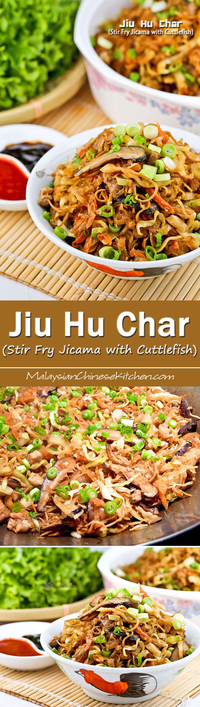 Jiu Hu Char (Stir Fry Jicama with Cuttlefish) is a popular Hokkien (Fujianese) lettuce wrap filling prepared for all major festivals. | MalaysianChineseKitchen.com