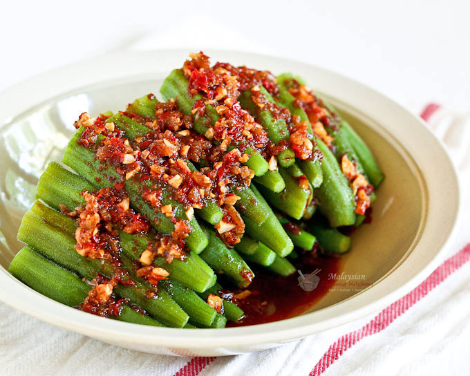 Delicious and piquant Sambal Steamed Okra.