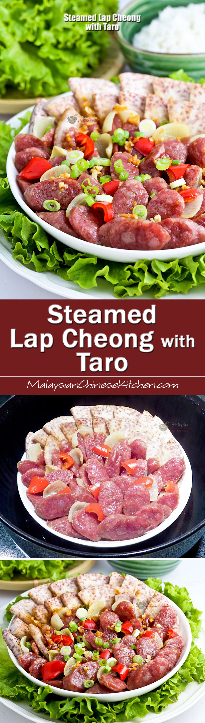 Steamed Lap Cheong and Taro is a simple home style dish that is quick and easy to prepare. Very tasty and delicious served with steamed rice. | MalaysianChineseKitchen.com