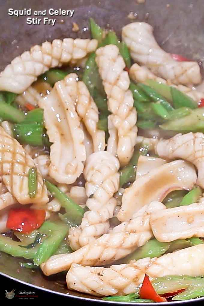 Squid and Celery Stir Fry with the signature curled squid.