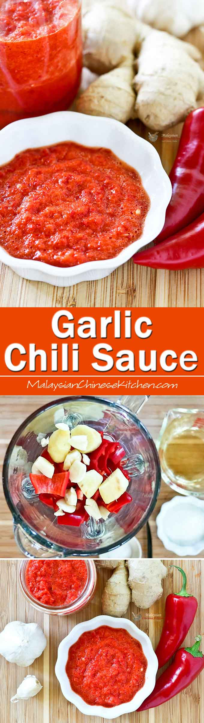This simple no-cook Garlic Chili Sauce is a tasty condiment to have on hand. It is the perfect dip for dumplings, crackers, and Hainanese chicken rice. | MalaysianChineseKitchen.com