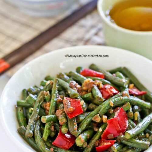 Stir Fry Long Beans served with steamed rice.