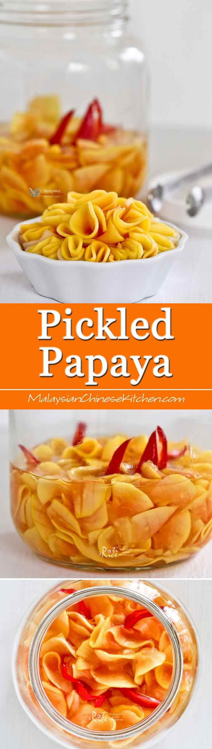 This Malaysian style Pickled Papaya is usually eaten as a snack or appetizer. It is crunchy, tangy, slightly spicy, and deliciously addictive. A must-try! | MalaysianChineseKitchen.com