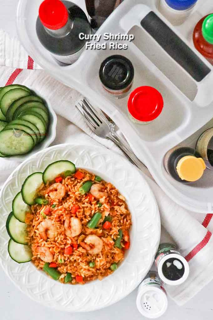 Quick and easy Curry Shrimp Fried Rice with egg and mixed vegetables. This curried flavored fried rice is so tasty and takes only 15 minutes to prepare. | MalaysianChineseKitchen.com