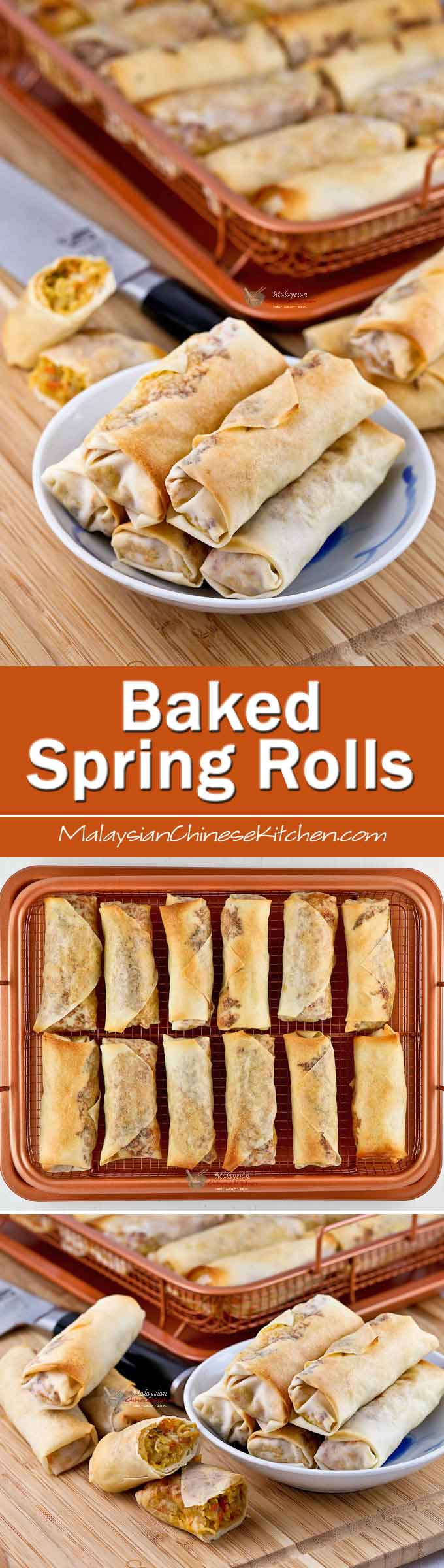 These Baked Spring Rolls filled with jicama, carrots, cabbage, and ground pork are just as delicious as their deep fried counterpart. They are crispy too! | MalaysianChineseKitchen.com