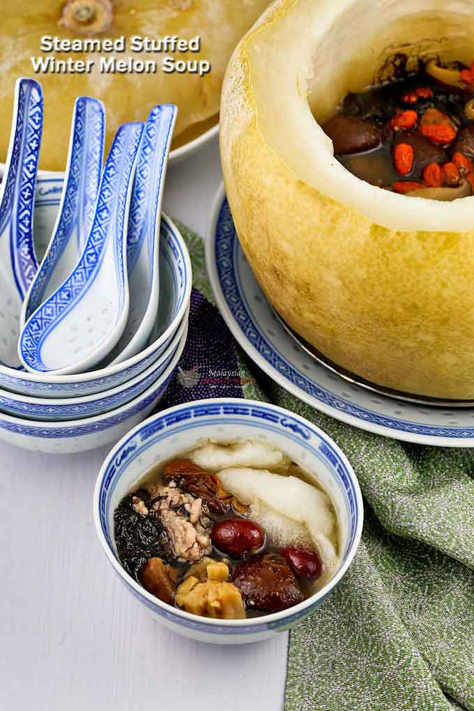 Make this special Steamed Stuffed Winter Melon Soup the centerpiece of your table spread for a family reunion or gathering. It is exciting and super delicious! | MalaysianChineseKitchen.com