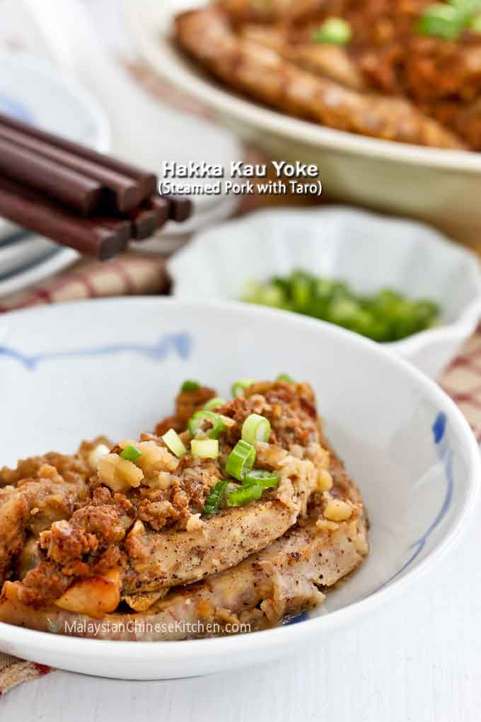 Tender, delicious, flavorful Hakka Kau Yoke (Steamed Pork with Taro)