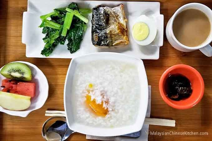 Sweet Potato Congee with side dishes