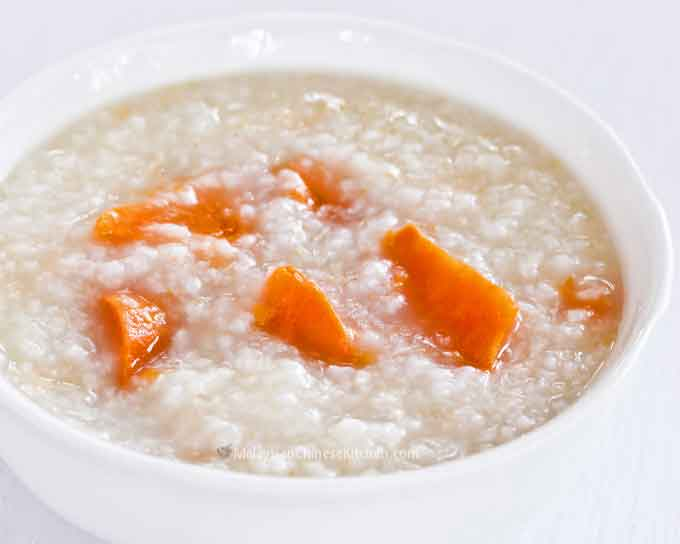 Sweet Potato Congee is delicious eaten with side dishes and condiments. | MalaysianChineseKitchen.com