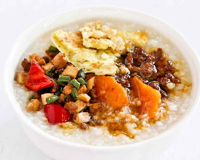 Sweet Potato Congee with preserved radish omelet, preserved radish and long beans stir fry, and soy sauce minced pork. | MalaysianChineseKitchen.com