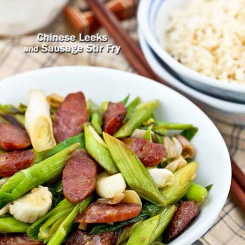 Quick and easy Chinese Leeks Sausage Stir Fry.