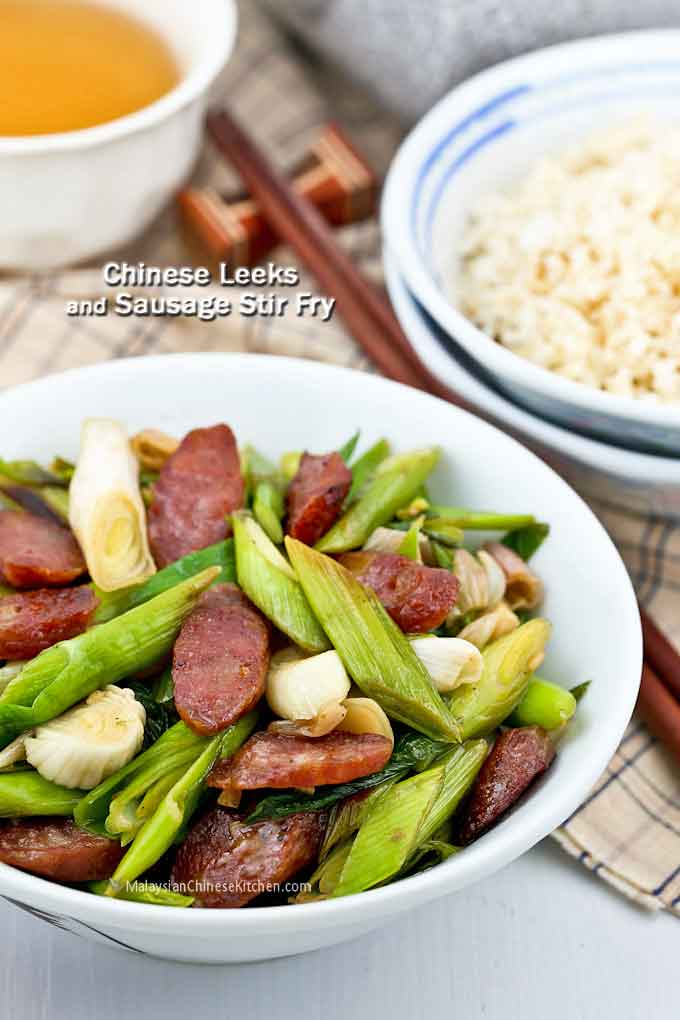 Chinese Leeks Sausage Stir Fry - a fragrant and garlicky stir fry delicious served with steamed rice. Quick and easy to prepare. | MalaysianChineseKitchen.com