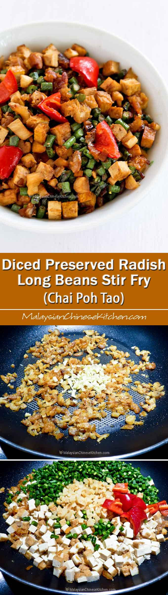 Diced Preserved Radish Long Beans Stir Fry (Chai Poh Tao) – a medley of diced vegetables with a sweet salty flavor that goes well with plain congee. | MalaysianChineseKitchen.com