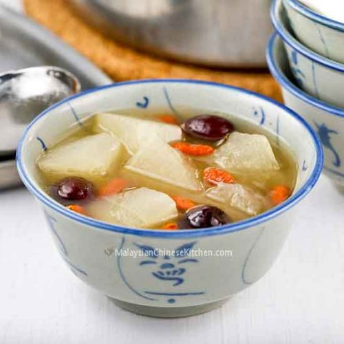 Winter Melon Soup (Tong Kua Tong) is a soothing and nutritious soup with cooling properties. Perfect on a warm day but just as comforting on a cool day.   MalaysianChineseKitchen.com