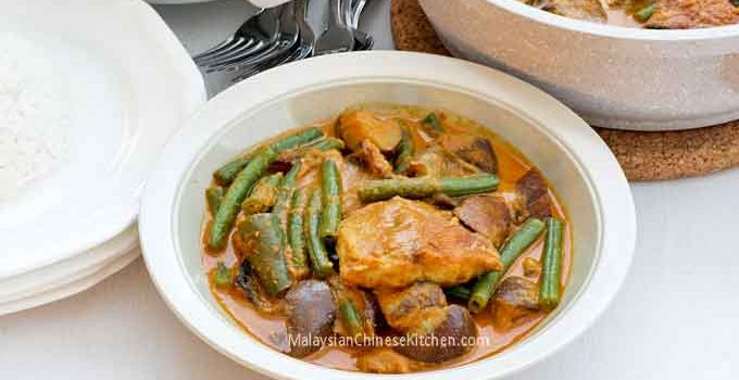 This Salted Fish Curry is an adaptation of the Nyonya version using freshly salted fish instead of dried salted fish. It is just as delicious! | MalaysianChineseKitchen.com