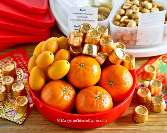 Mandarins, kumquats, and chocolate ingots for wealth and prosperity