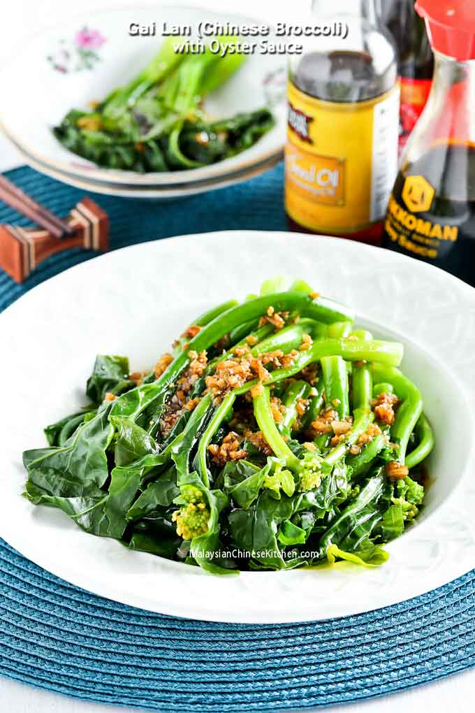 Blanched baby Gai Lan (Chinese Broccoli) with Oyster Sauce